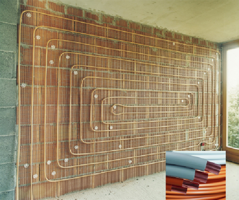 pared radiante con tubos de cobre